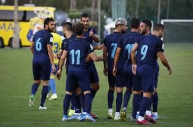 Los jugadores celebran el 2-0, obra de Rodri. Foto: Granada CF