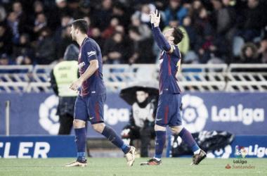 Messi e Suarez all'Anoeta. Fonte: LaLiga.es