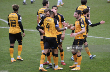 Above: Joss Labadie and Newport County celebrate their win over Colchester United on Saturday (Source: NurPhoto, Getty Images)
