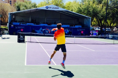 Aljaz Bedene smacks a forehand during his semifinal win/Photo: Irving Tennis Classic