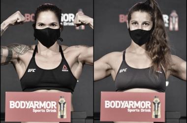 Amanda Nunes y la primera defensa del cinturón de las 145 libras, ante la canadiense Felicia Spencer (Fotomontaje: Adrián Gallardo)