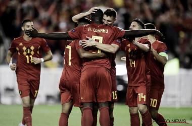 Los jugadores belgas celebran el 2-1 de Lukaku. | Foto: Selección Bélgica