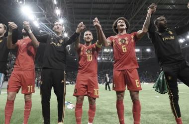 Bélgica celebrando su clasificación para la UEFA Euro 2020 | Fotografía: FIFA