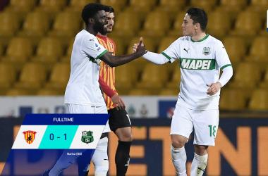 L'esultanza di Boga e Raspadori dopo il gol dello 0-1. | Foto: Twitter @SerieA.
