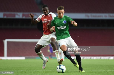 White in action for Brighton U23's against Arsenal U23's last season. Image courtesy of Harriet Lander on Getty Images.