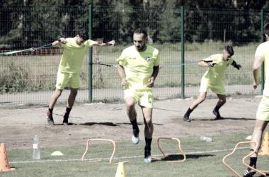 Integrantes de la SD Huesca entrenándose en Benasque. FOTO | SD Huesca