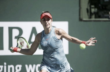 Belinda Bencic en acción durante su partido de hoy en Indian Wells. Foto: gettyimages.es