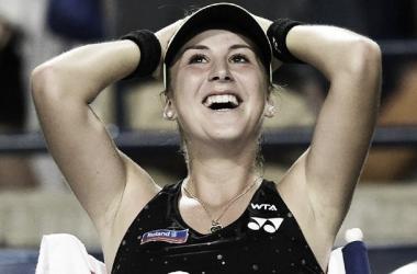 Belinda Bencic celebrates her win over Lucie Safarova (Source: Zeenews)