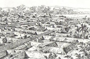 Boceto de la antigua ciudad de Benín. Fuente: historiadeafrica.com