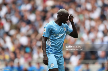 <div>LONDON, ENGLAND - AUGUST 15: Benjamin Mendy of Manchester City during the Premier League match between Tottenham Hotspur and Manchester City at Tottenham Hotspur Stadium on August 15, 2021 in London, England. (Photo by James Williamson - AMA/Getty Images)</div><div><br></div>