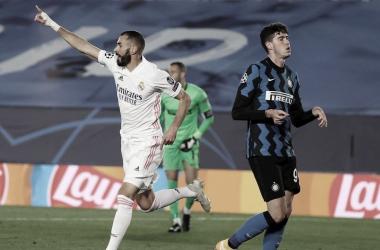 Karim Benzema en la UEFA Champions League 20/21 ante el Inter Milan. | Foto: Telemadrid