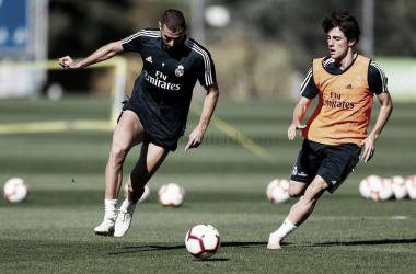 Benzema y Odriozola durante el entrenamiento en Valdebebas / Foto: Real Madrid