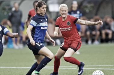 McKenzie Berryhill fights for the ball in match against FC Kansas City / Photo Credit: nwslsoccer.com