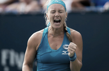 Kiki Bertens celebrates her huge win | Photo: Jimmie48 Tennis Photography
