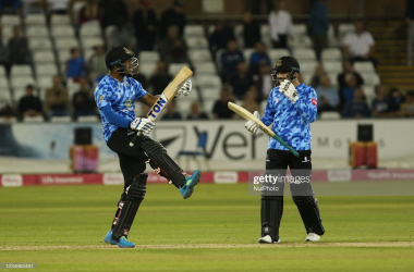 Chris Jordan of Sussex celebrates the winning runs during the Vitality T20 Blast match between Yorkshire County Cricket Club and Sussex County Cricket Club at Emirates Riverside, Chester le Street on Tuesday 24th August 2021. (Photo by Will Matthews/MI News/NurPhoto via Getty Images)