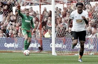 Hernandez celebrates his goal following earlier penalty miss. (Image Credit: Focus Images Ltd.)