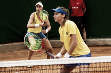 Dupla brasileira formada por Haddad Mais e Luisa Stefani fez grande partida para decidir a vitória (Foto: Divulgação/CBT)