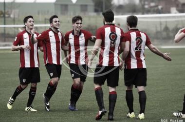 El Bilbao Athletic celebrando un gol esta temporada || Vía UGS Visión