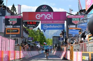 Bilbao arriva a braccia alzate sul traguardo di Monte Avena&nbsp; &nbsp;Fonte foto: Profilo Twitter Giro d'Italia<div><br></div>