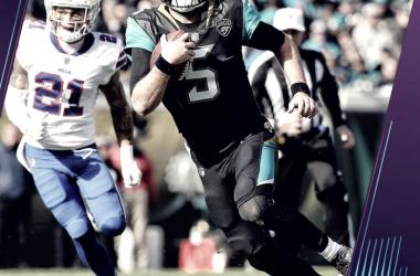 Blake Bortles corre bajo presión. Fuente: NFL