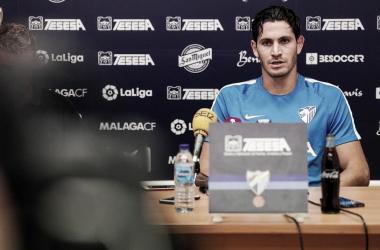 Blanco Leschuk en la rueda de prensa. | Foto: Málaga CF