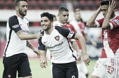 Nicolás Blandi quiere volver a gritar gol.con el manto azulgrana. Foto: San Lorenzo