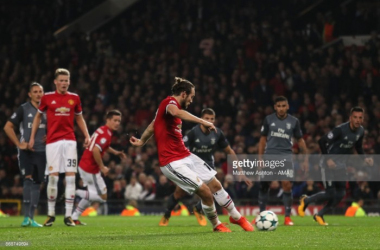 Daley Blind seals United's victory with a late penalty. (Photo credit: Matthew Ashton/AMA)