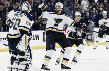 Los St. Louis Blues celebrando una victoria esta temporada | Foto: NHL.com