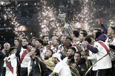 """<p class=""""MsoNormal"""">El plantel de River Plate celebra la obtención de la Copa Libertadores 2018. FOTO: Web&nbsp;</p>"""