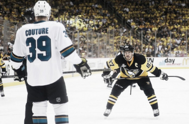 Sidney Crosby #87 of the Pittsburgh Penguins prepares to take a face-off against Logan Couture #39 of the San Jose Sharks during the second period in Game Five of the 2016 NHL Stanley Cup Final at Consol Energy Center on June 9, 2016 in Pittsbur