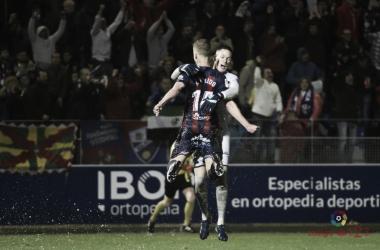 Los jugadores del Huesca celebran una de sus últimas victorias | Fuente: La Liga