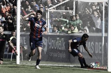 Gonzalo Melero celebra el gol en la pasada jornada   Fuente: La Liga