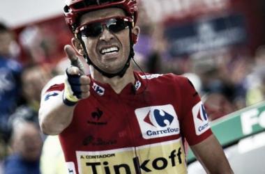 Alberto Contador célébrant sa victoire avec son légendaire geste du pistolet. Une image que l'on pourrait ne plus voir en 2016. (Photo rtve.es)