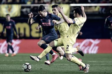 Vitolo, en una jugada frente al Villarreal/ Fuente: Atlético de Madrid