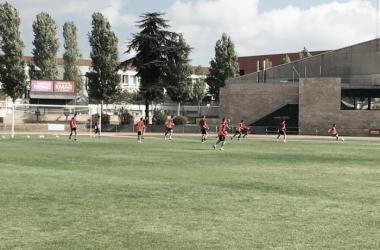 Jugadores de la UE Llagostera entrenando. (Foto: UE Llagostera @ Twitter)