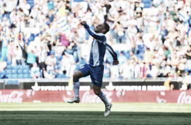 Sergio García celebra su gol ante el Levante. Foto: Web oficial del RCD Espanyol.
