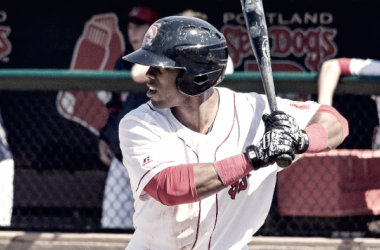 Aneury Tavarez, pictured here on Opening Day, knocked out three hits to help lead the Sea Dogs. Portland Sea Dogs