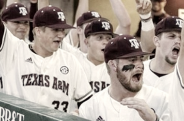 Texas A&M reacts as Janca's single gets through the infield, prior to storming the field to celebrate the walk-off. (the 12thman.com)