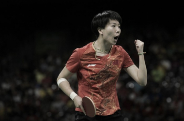 LI XIaoxia celebrates a point, as China cruised to the gold medal.  AFP / Juan Mabromata