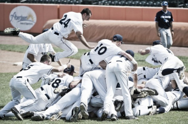 Xavier leaps in celebration as they complete their turnaround season with an 8-7 win over creighton. Photo courtesy of goxavier.com