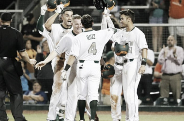 Miami Hurricanes survive scrappy Boston College Eagles; Take Game 1 of Super Regionals 12-7