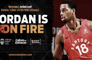 Jordan Loyd en el anuncio oficial de su fichaje por Valencia Basket / Foto: Valencia Basket (Twitter)