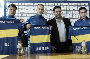 Bou, Benedetto y Zuqui, los primeros en llegar en este mercado. Foto: TyC Sport.