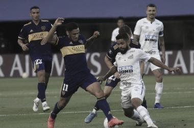 Boca vs Santos en el partido de ida disputado en la Bombonera | Foto: Ámbito