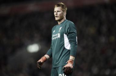 Liverpool keeper Adam Bogdan made a major error against Exeter - image via wwntradio.com