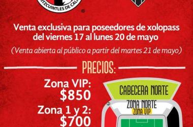 El precio de los boletos será el mismo que fue ante Palmeiras en los octavos de final.   Foto:Club Tijuana Xoloitzcuintles de Caliente.