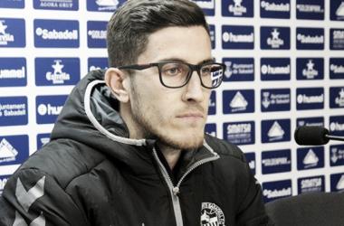Aleix Coch, en rueda de prensa   Foto: CE Sabadell