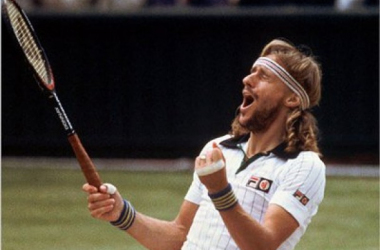 The famous image of Bjorn Borg celebrating his 1980 Wimbledon victory. Photo: AP/Business Insider
