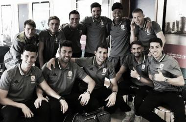Above: Gaston Ramirez with his Middlesbrough team-mates ahead of their trip to Marbella | Photo: Evening Gazette