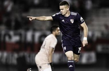 Borré, quién no podrá jugar ante Boca, fue titular ante el Lobo y estuvo bastante eficaz. Foto: River Oficial.